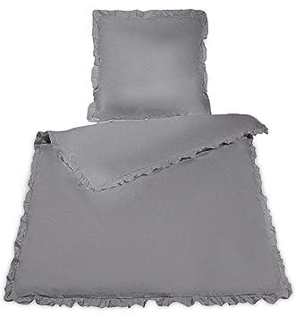 Wometo Bettwäsche Rüschen 135x200 100 Baumwolle Grau Vintage