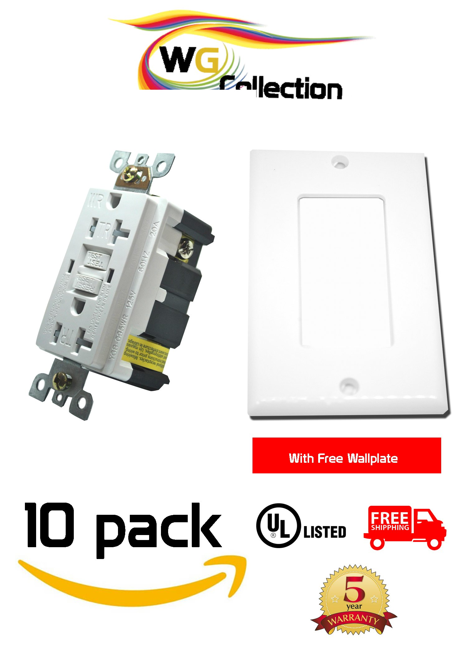 WG Collection 20A 125 Volt Tamper-Resistant, Water Reistant GFCI Outlet, Receptacle, UL Listed, White , LED Indicator for Home, Office and Warehouse use with Free Wallplates 10 Pack