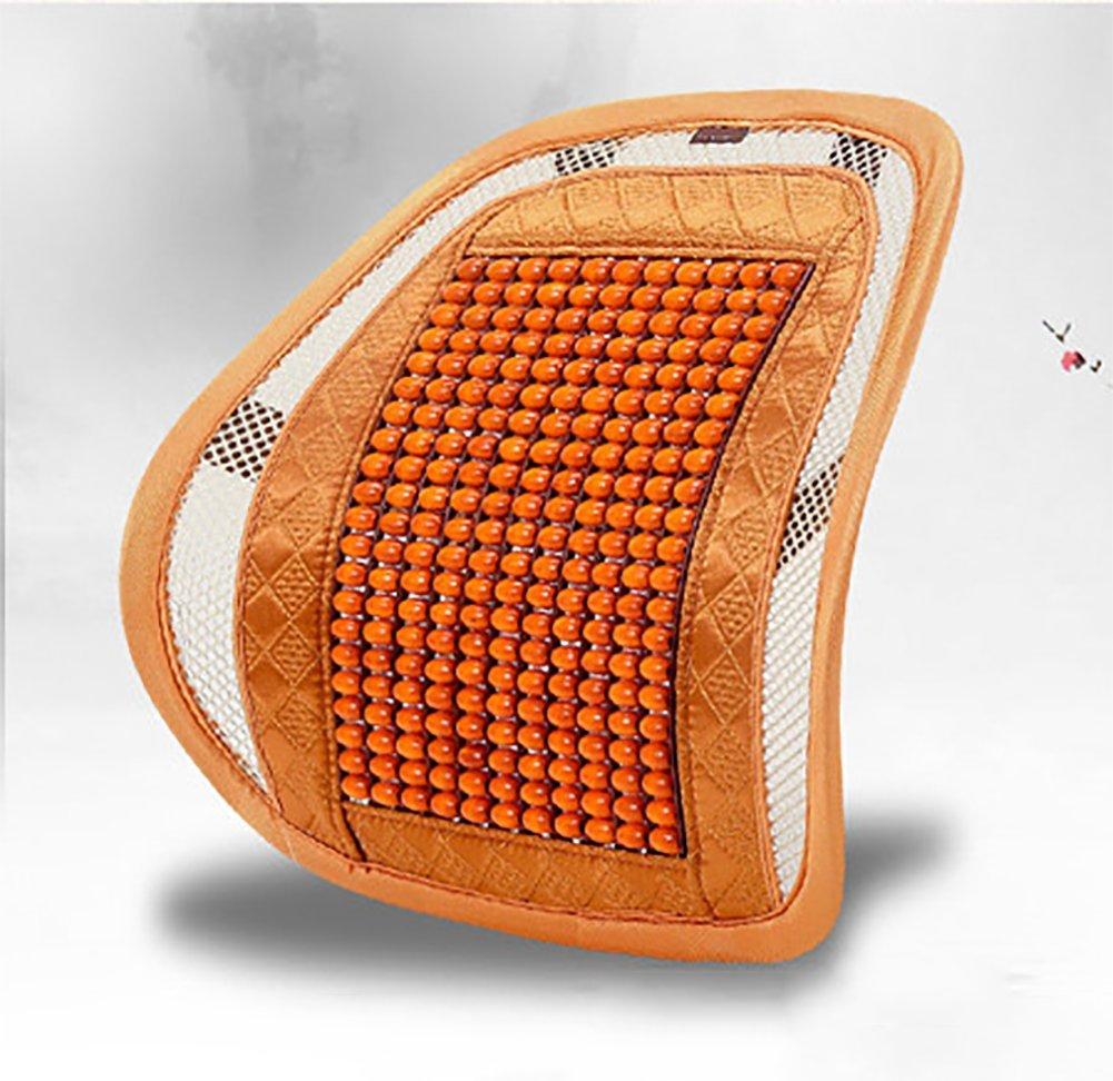 RUIX Summer Car Auto Seat Office Chair Lumbar Support Cushion Pad Wood Beads Massage Lumbar Pillow,C