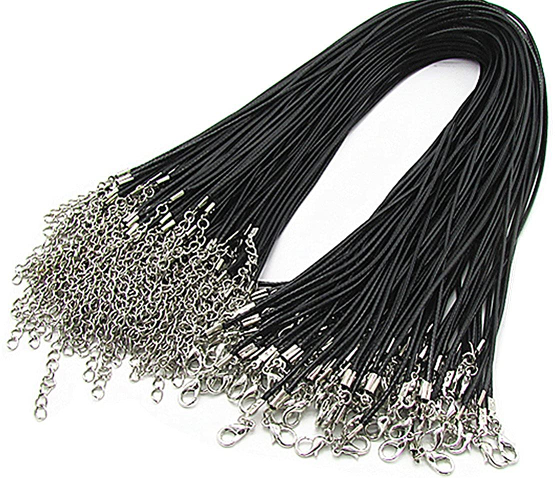 24 Black Braided Leather Cord Rope Necklace Chain with Lobster Claw Clasp 2.0mm 100Pcs