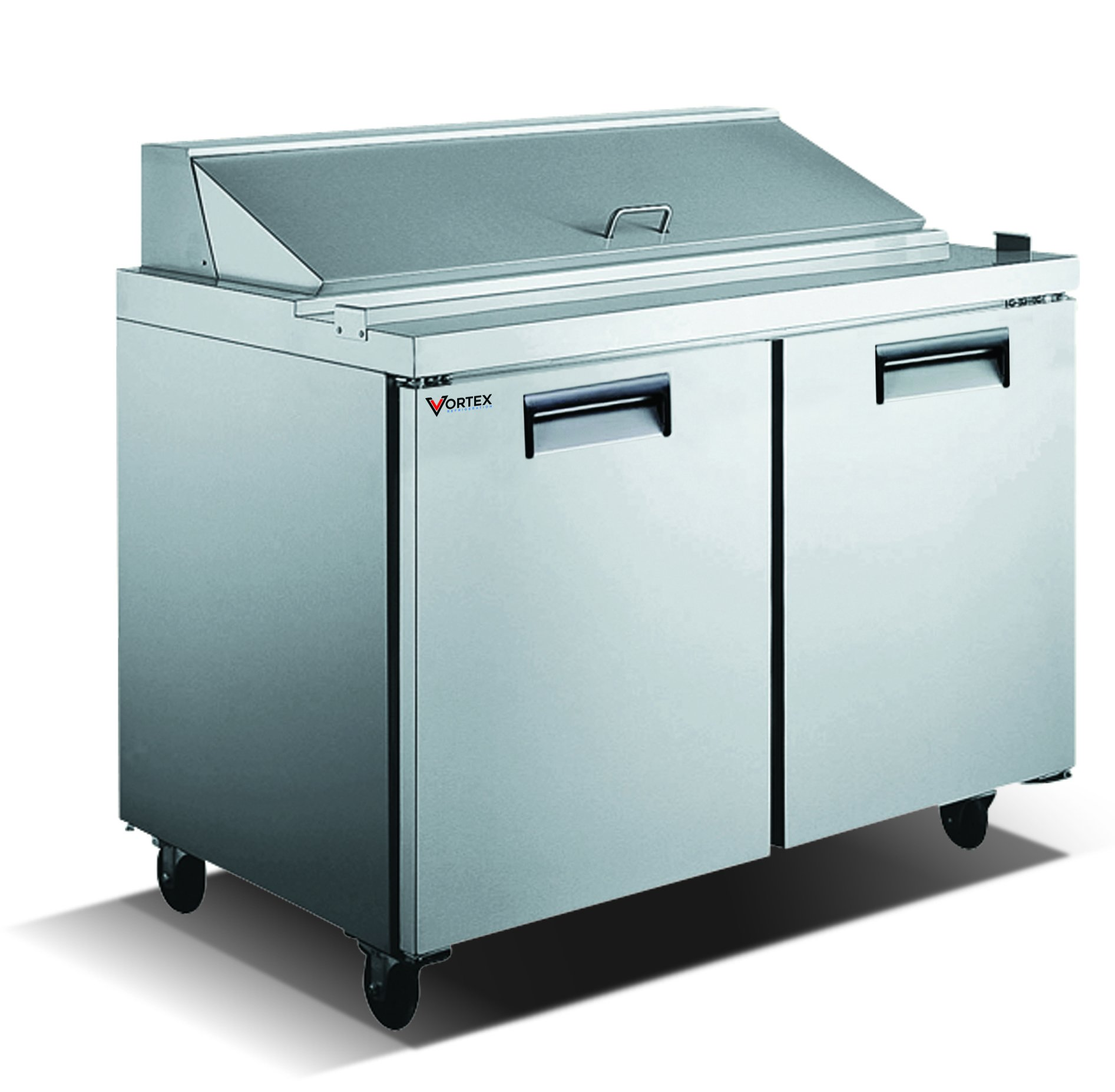 Vortex Refrigeration Commercial 2 Door 60'', 16 Pan Sandwich Prep Table - 15 Cu. Ft. by Vortex