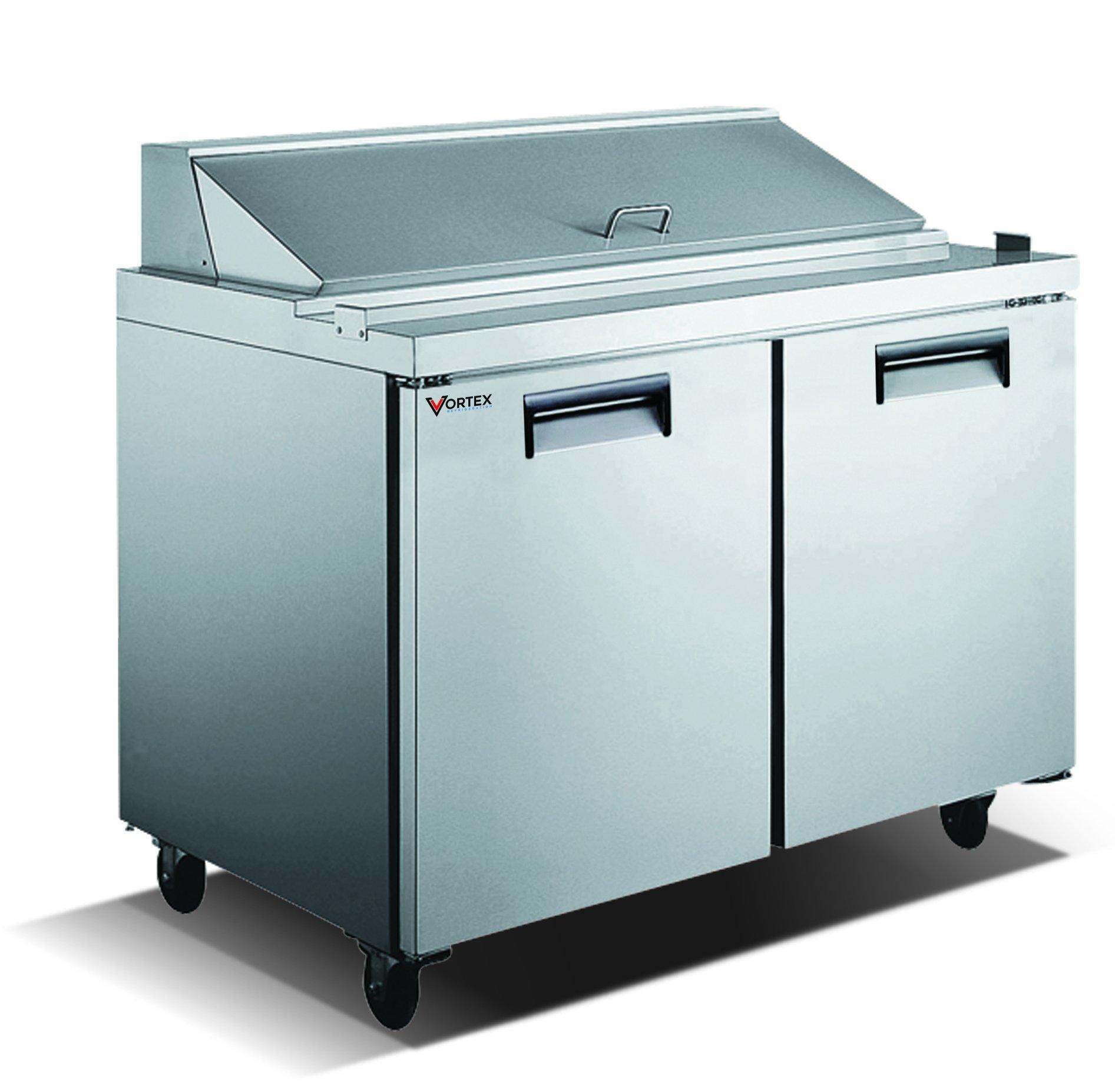 Vortex Refrigeration Commercial 2 Door 60'', 16 Pan Sandwich Prep Table - 15 Cu. Ft.