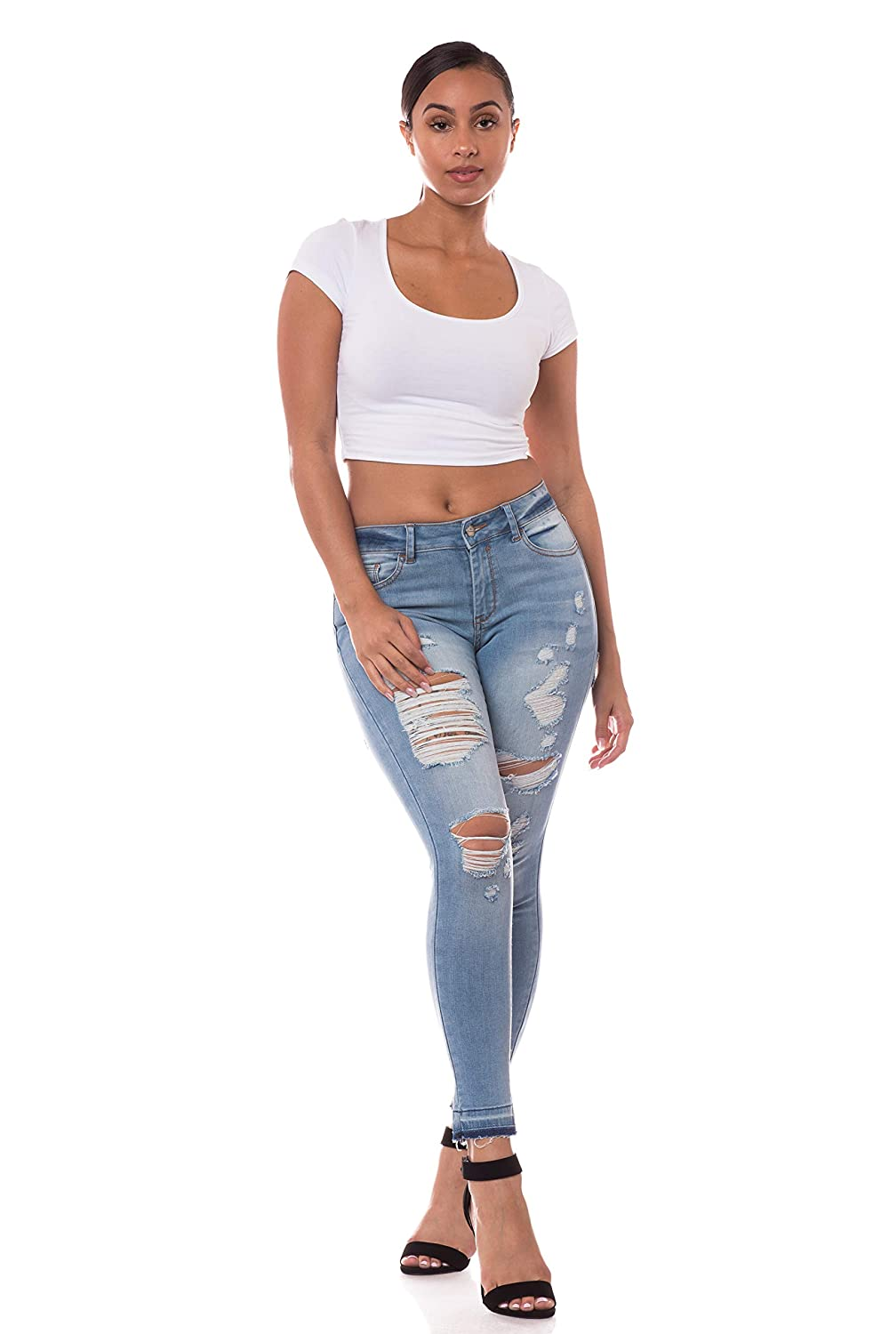 1235   Light bluee AP bluee Aphrodite Mid Rise Jeans for Women  Skinny Womens Distressed Ripped Jeans