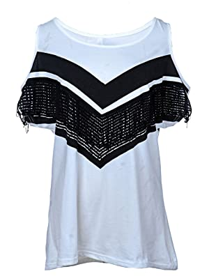 Anna-Kaci S/M Fit White Casual Tank Top with Black Fringe Detail Open Shoulders