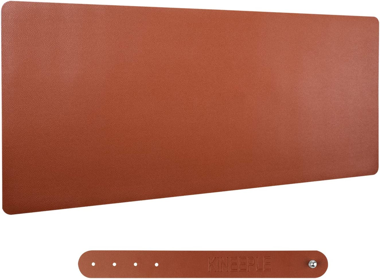 """PU Leather Mouse Pad, KINPLE Dual-Side Use Desk Pad, Waterproof Office Desk Writing Mat Blotter in Multi-Color (35.4""""x15.7"""") (Brown)"""