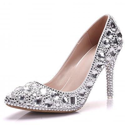 8b2b4196e5400 CXY Chaussures de Mariage en Cristal de Grande Taille Talons Strass Bien  avec des Chaussures Pointues Dîner Robe Chaussures
