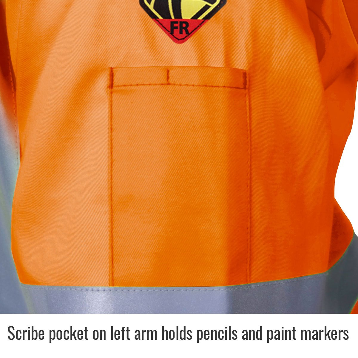 Revco JF1012-OR 30'' Hi-Vis 9 oz. Flame Resistant Cotton Welding Jacket by Black Stallion (Image #3)