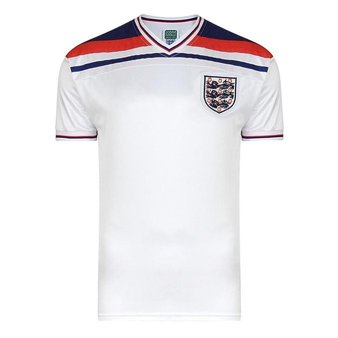 England FA - Camiseta fútbol Replica Oficial Mundial 1982 Hombre Caballero (Pequeña (S)