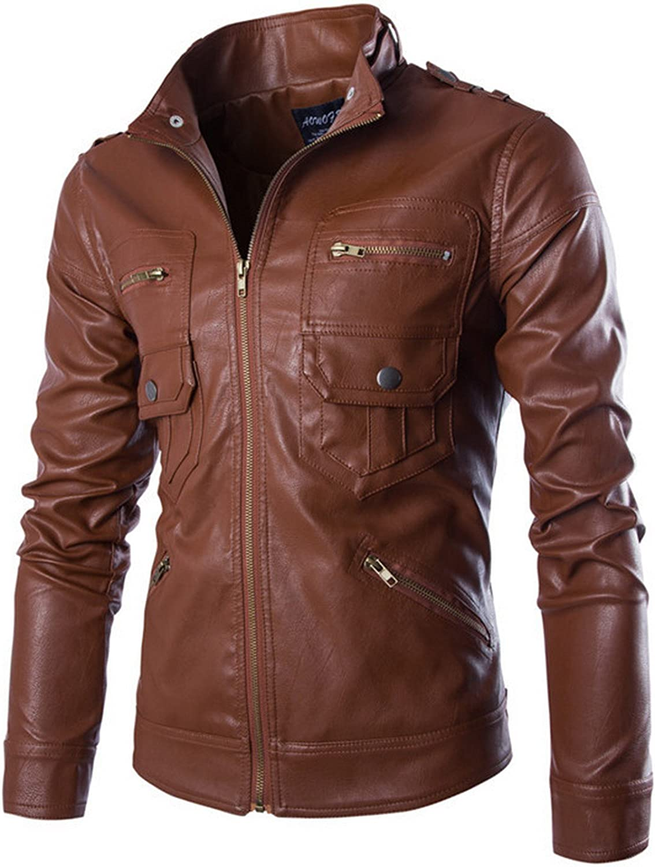WSLCN Mens Moto Jacket Faux Leather Biker Jacket Coat Zip Jacket Col Mao Brown