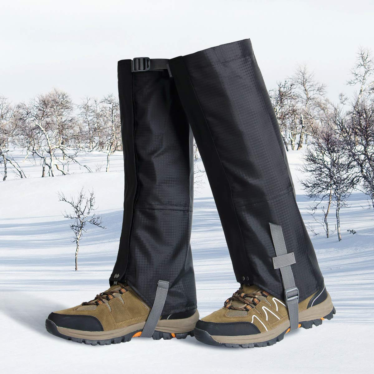 Leg Gaiters Waterproof Snow Gaiter Shoes Gaiters 600D Anti-Tear Oxford Cloth for Outdoor Hiking Walking Climbing Hunting