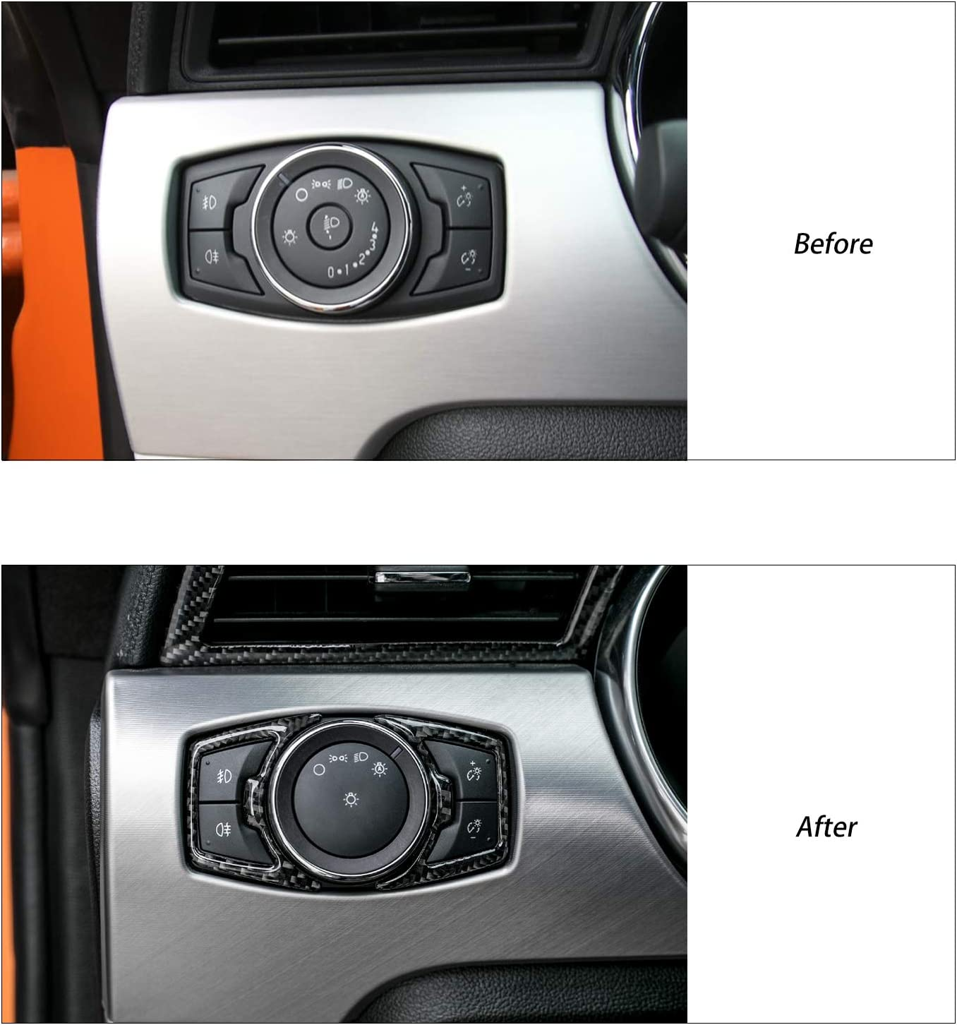 VTECKIY for Mustang Real Carbon Fiber Headlight Adjust Control Panel Trims for Ford Mustang 201502016 2017 2018 2019 2020 2021