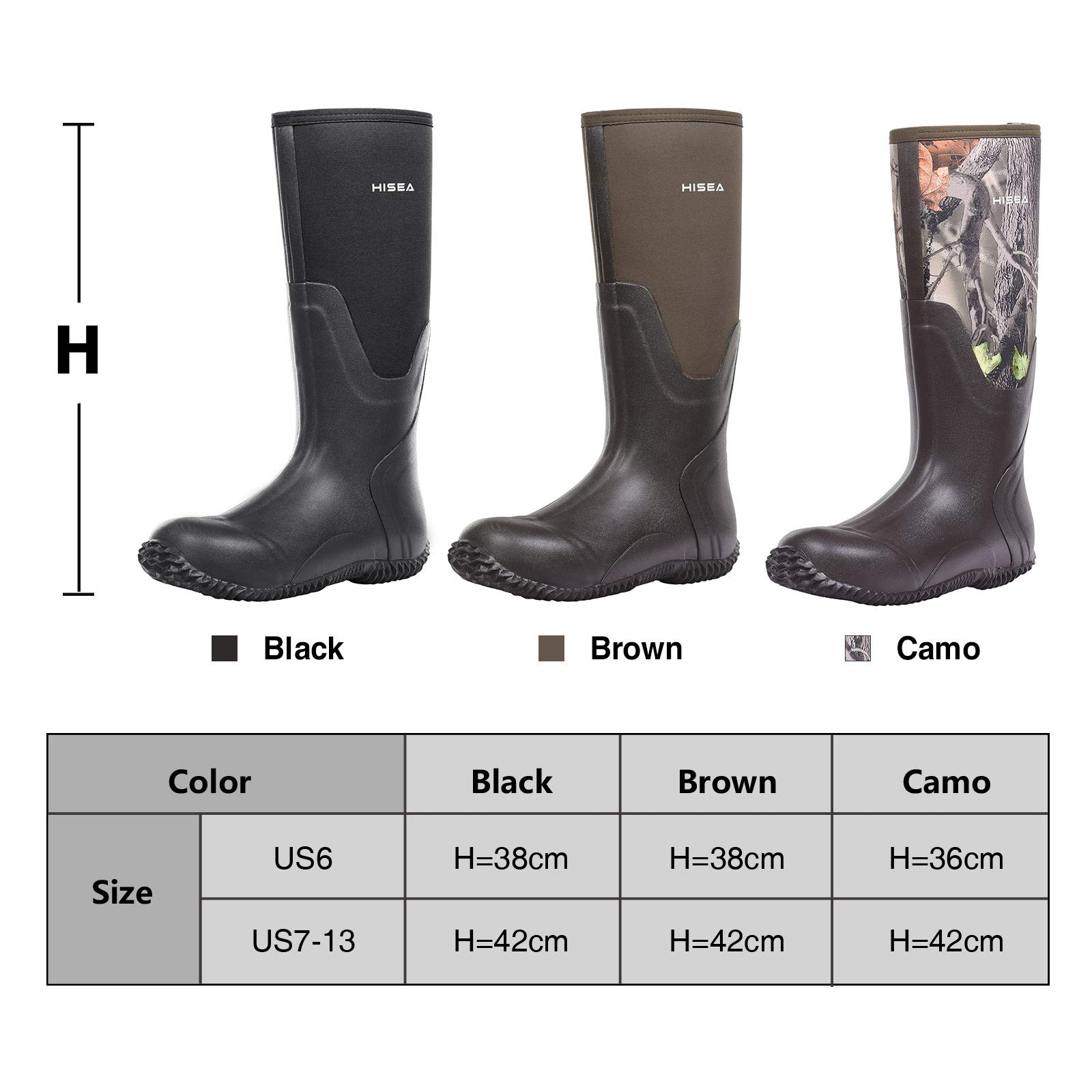 Hisea Mens Insulated Rubber Neoprene Boots Waterproof Durable Insulated Outdoor Winter Snow Rain Boots Hunting Arctic Boot Camo Size 8 by Hisea (Image #4)