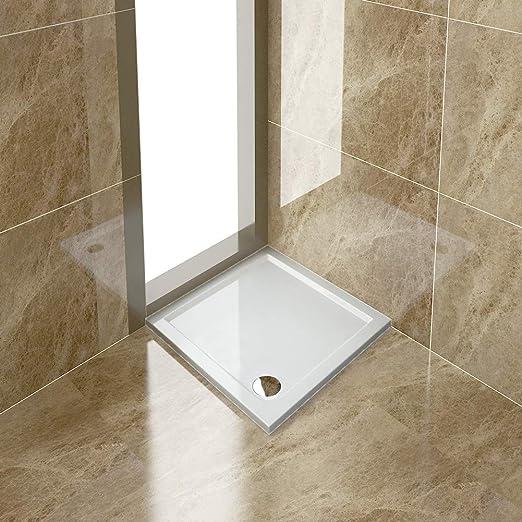 Bandeja rectangular de piedra para mampara de ducha + trampa de ...