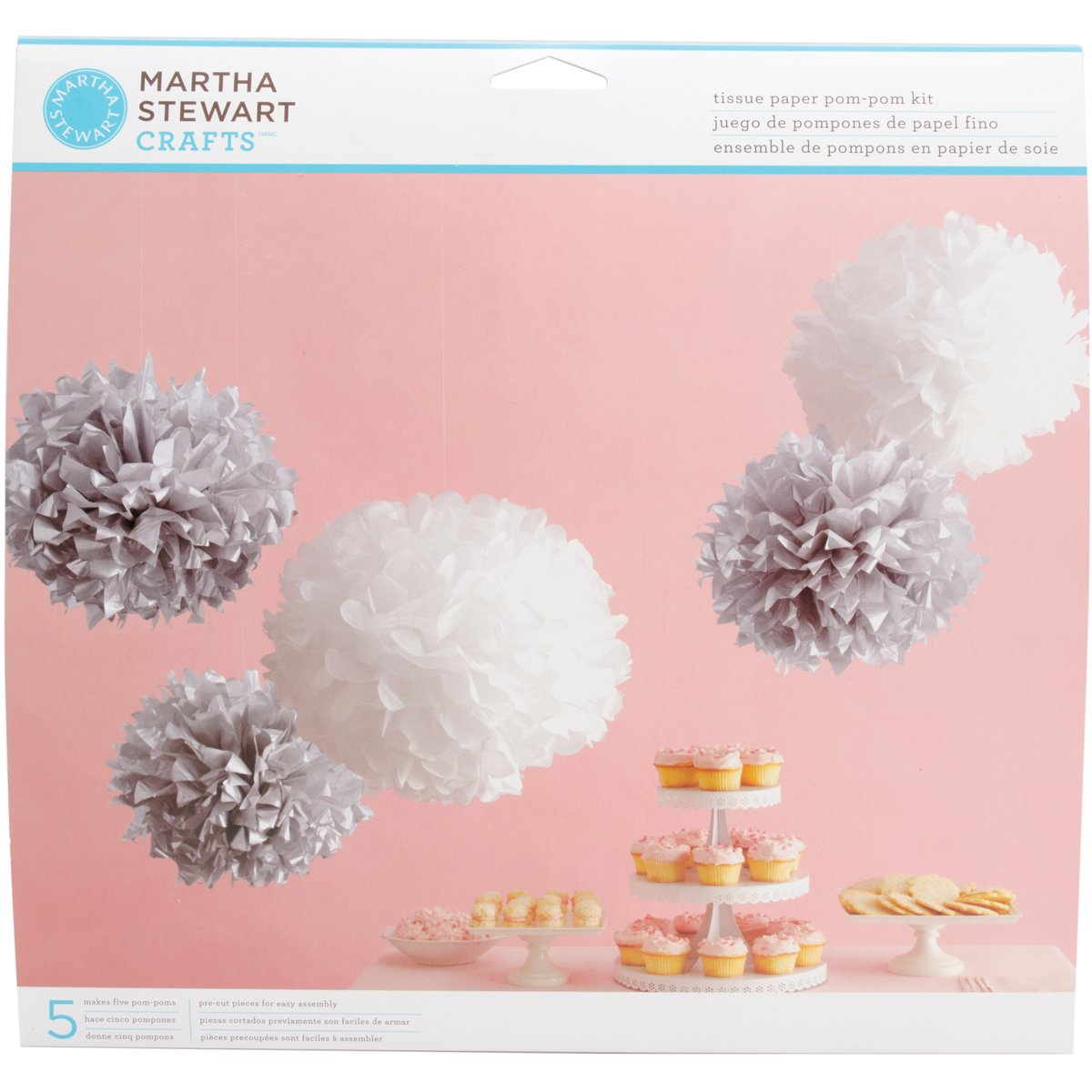 Martha stewart paper tissue paper pom pom kit makes 5 silver and martha stewart paper tissue paper pom pom kit makes 5 silver and white amazon kitchen home mightylinksfo