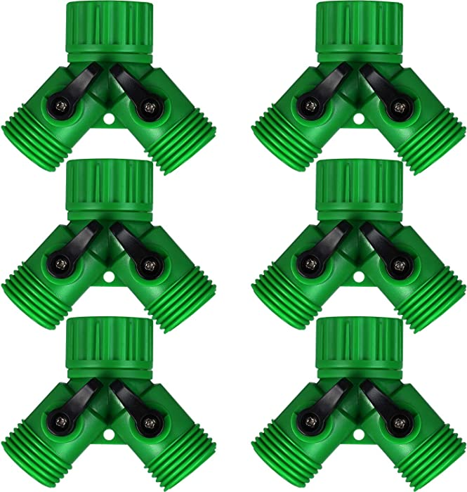 Mudder 6 Pieces 3/4 Inch Garden Hose Y Connectors Plastic Water Hose Splitter Hose 2 Way Splitter with Faucet Watering Shut Off Valves for Landscaping, Gardening, Flower Planting, Irrigation