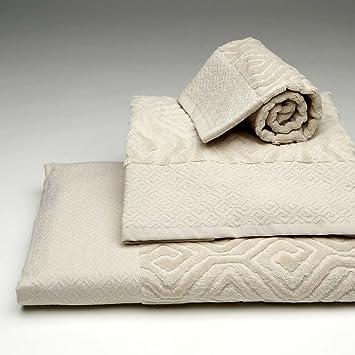 Burrito Blanco Juego de Toallas de Baño en Relieve 3 Piezas (1 toalla de Ducha
