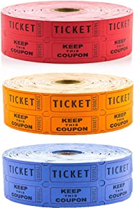 Toysery Raffle Tickets - Consecutively Numbered Fundraiser 50/50 Raffle Ticket Double Roll - Perfect Attendance Tracker for Concerts, Parties and Carnivals and Other Events - 3 Rolls of 2000 Tickets