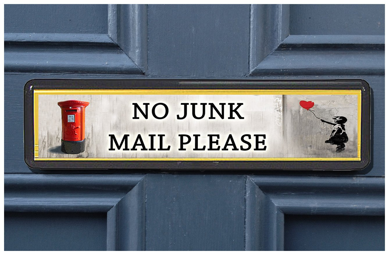 BOGAF UK Banksy Postbox Polite No Junk Mail Sign sticker for Letterbox Leaflet Flyers Menus Door Sticker for Home Office Shop (CHOOSE QUANTITY) (1x Banksy Postbox No Junk Mail Sign)