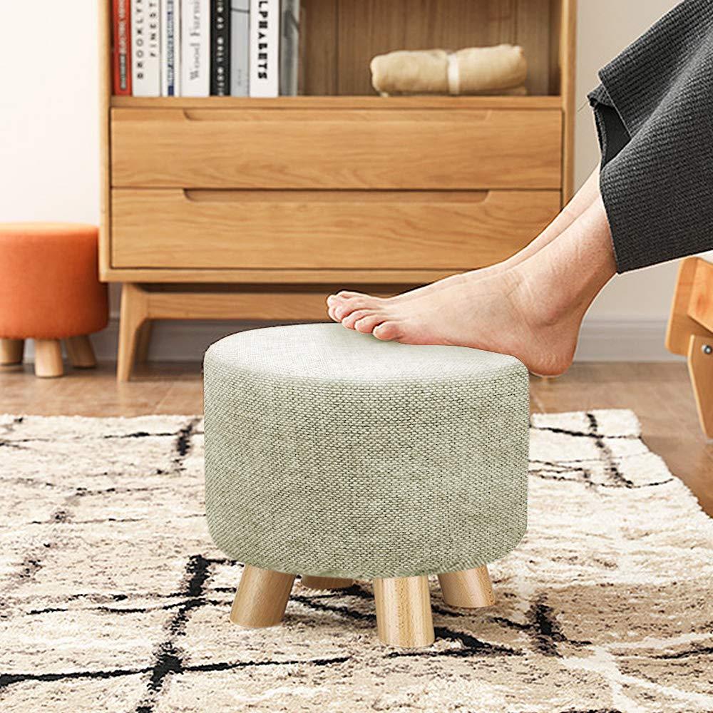 Exqui sgabello imbottito grigio rotondo ottomano pouf poggiapiedi in legno 4 gambe piccolo cambiamento scarpe sgabello poggiapiedi per soggiorno e camera da letto