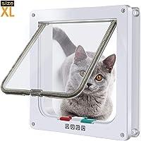 """MG+ Puerta para Gato con Cierre magnético de 4 vías, Puerta para Mascotas para Gatos y Perros pequeños, Puerta para Gatos con túnel (XL: Inner Size: 7.9""""(W) x 8.7""""(H) x 2.17""""(D), Blanco)"""