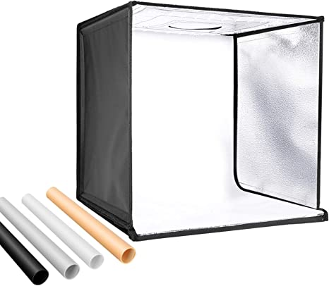 Neewer Foto Estudio Caja de Luz 40cm Disparo Carpa Brillo Ajustable Plegable Portable Professional Table Top Fotografía Kit de iluminación 120 Luces LED 4 Colores Telones de Fondo: Amazon.es: Electrónica