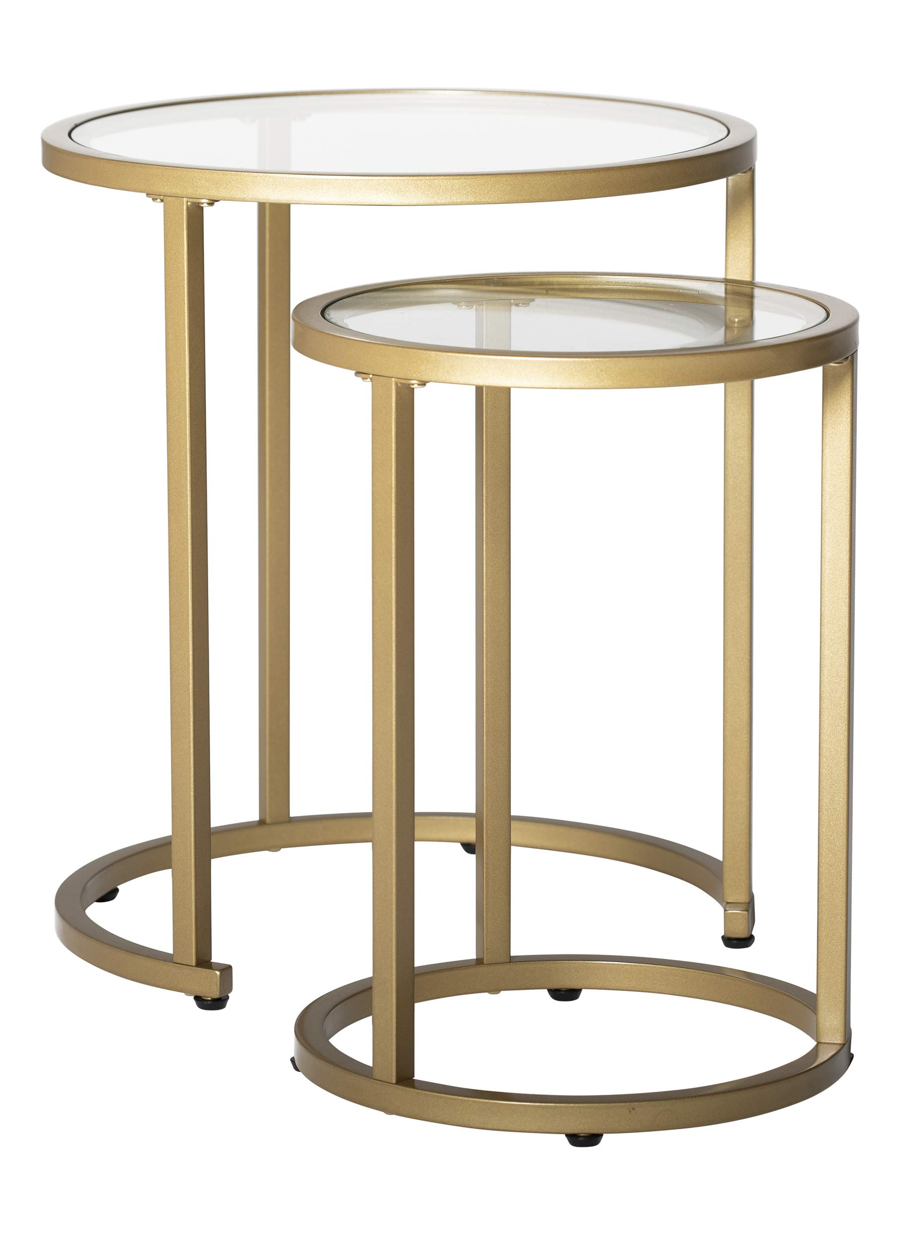 Studio Designs Home Camber Modern 20'' and 14.5'' Round Set of Nesting Tables in Gold/Clear Glass by Studio Designs Home