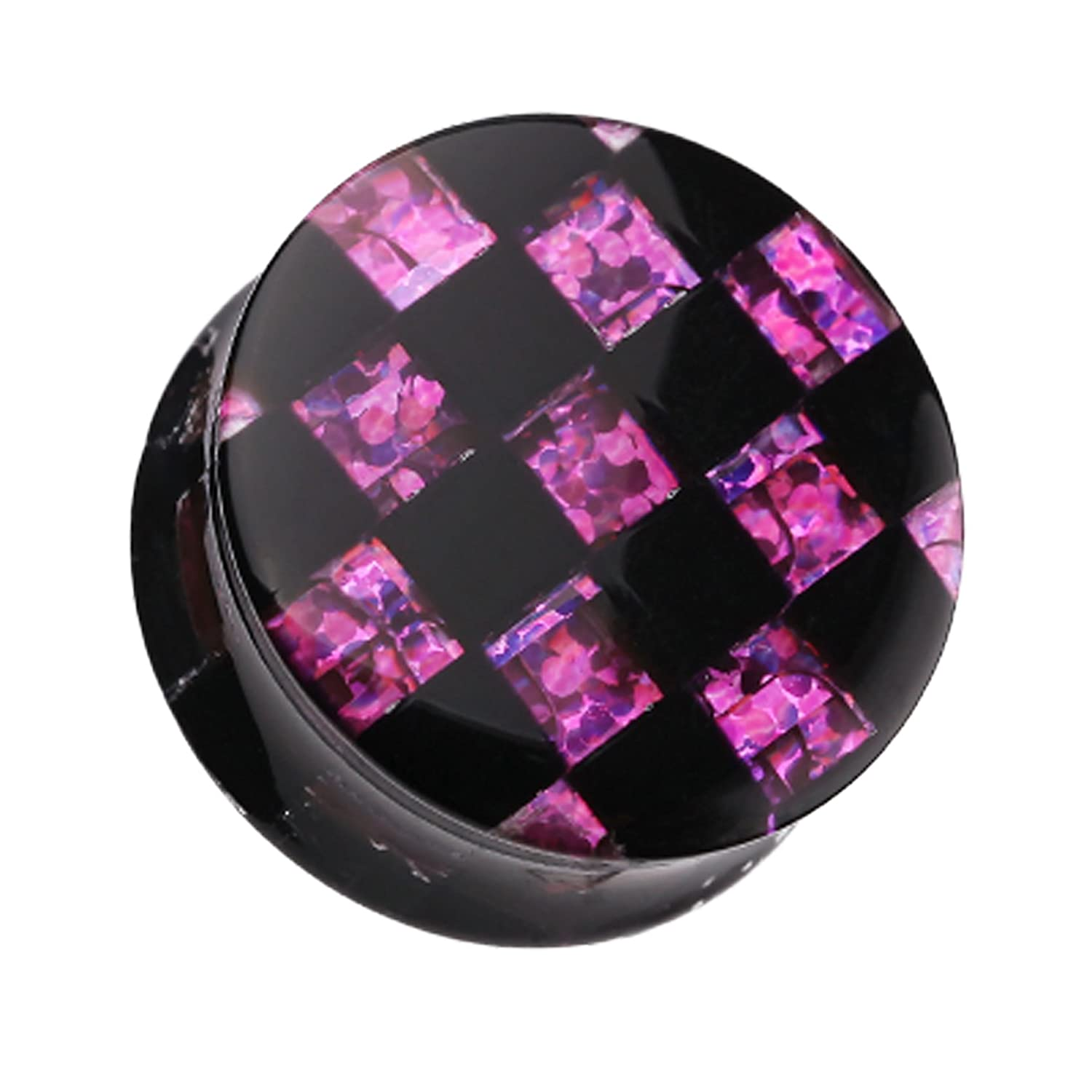Sold as a Pair Purple Marbled Checker Stripe Double Flared Ear Plug