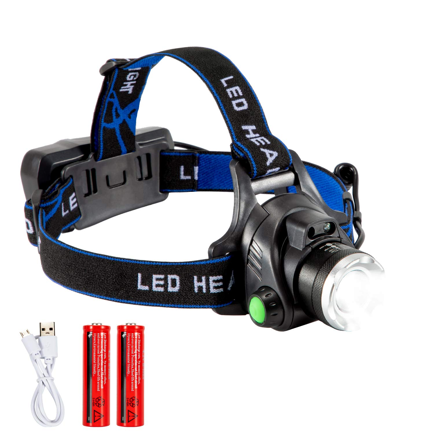 Headlamp USB Rechargeable Flashlight Smart Wave Sensor for Hands Free, Waterproof, Bright Light,Retractable lamp head, Adjustable headband,Lightweight, Perfect for outdoors (Blue)