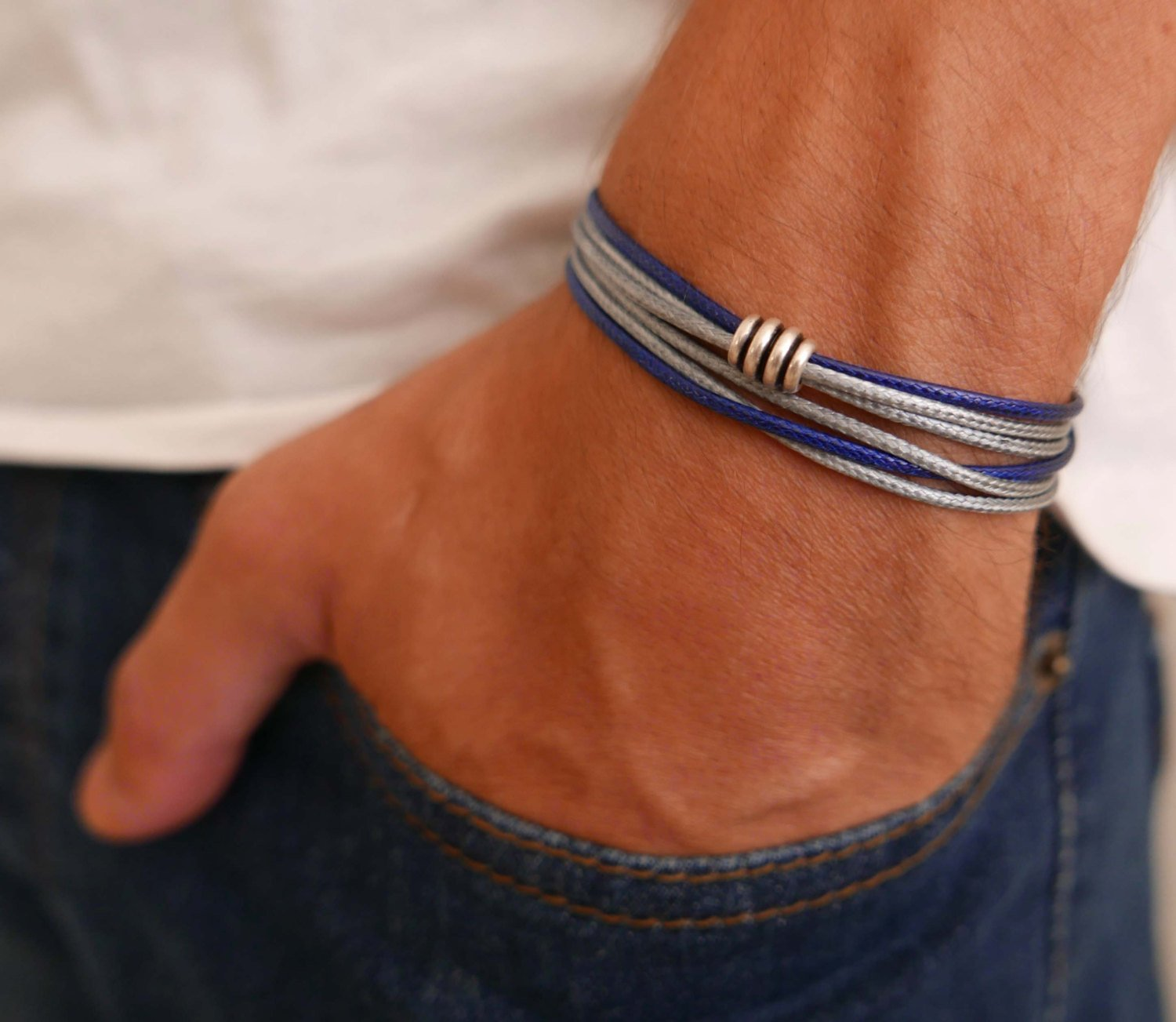 Handmade Wrap Gray And Blue Fabric Bracelet For Men Set With Silver Plated Bead By Galis Jewelry - Wrap Bracelet For Men - Beaded Bracelet For Men - Jewelry For Men