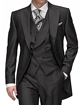 26717e32b72ecf Mens Solid 3-Piece Suits Slim Fit Peak Lapel One Button Tuxedo Blazer  Jacket Pants Vest Set at Amazon Men's Clothing store: