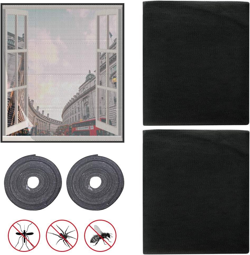 transparente blanco para ventana negro lavable con tijeras de malla para ventana 2 piezas 150 x 200 cm Mosquitera universal para ventana color blanco gris