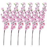 SODIAL (R) 6 Mazzi di fiori di pesco artificiali con 3 steli forcella per l'ufficio decorazione domestica Rosa