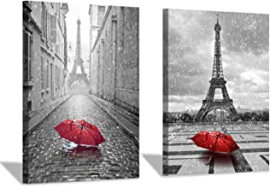 Eiffel Tower Canvas Wall Art: Umbrella in Paris Graphic Art Print Painting for Wall Decor (18''x24''x2pcs/Set)