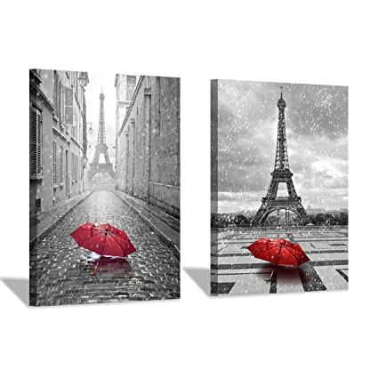 1941d1e69 Amazon.com: Eiffel Tower Canvas Wall Art: Umbrella in Paris Graphic Art  Print Painting for Wall Decor (12''x16''x2pcs/Set): Posters & Prints
