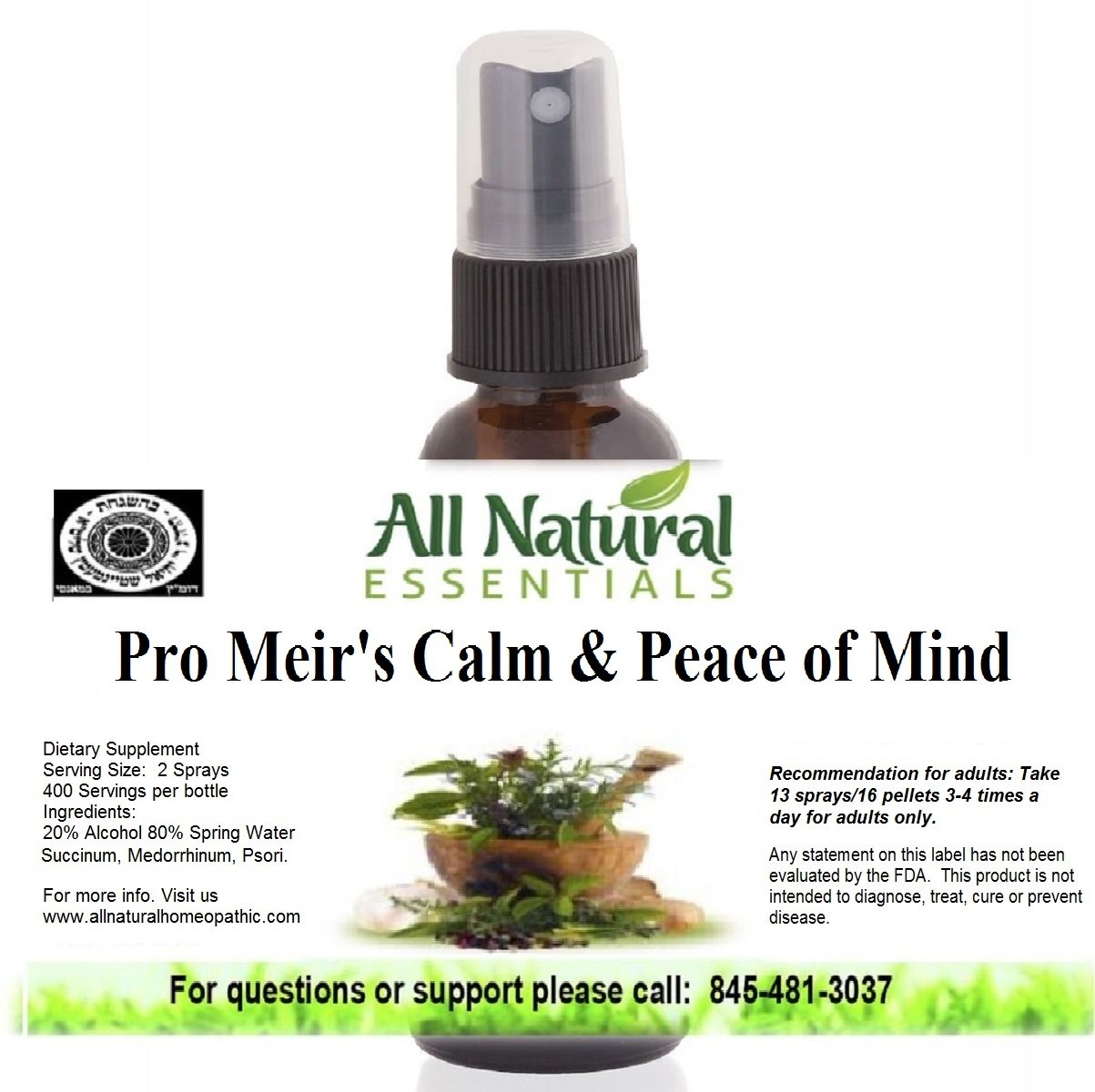 Pro Meir's Calm & Peace Of Mind 1oz Homeopathic Remedy, Natural Calm, Anti Stress, Relaxes Mind, Calms, Mood Lift, Reduces Anxiety, Stress Support, Increase Focus, Keeps Minds Relaxed & Focused,kosher