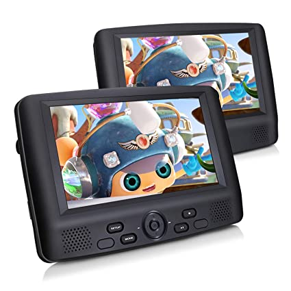 """hot sale online 0a25e 35e32 Amazon.com  CUTRIP 9"""" Dual Screen Portable DVD Player for Car with Headrest  Mount, 5-Hour Rechargeable Battery, Last Memory, Support USB SD MMC   Electronics"""