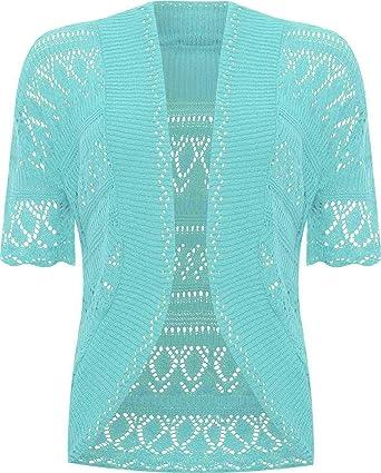 6f3fec04eb2 ZEE Fashion New Ladies Bolero Shrug Crochet Knitted Cardigan Women s Top  Short Sleeve Cardigan Aqua