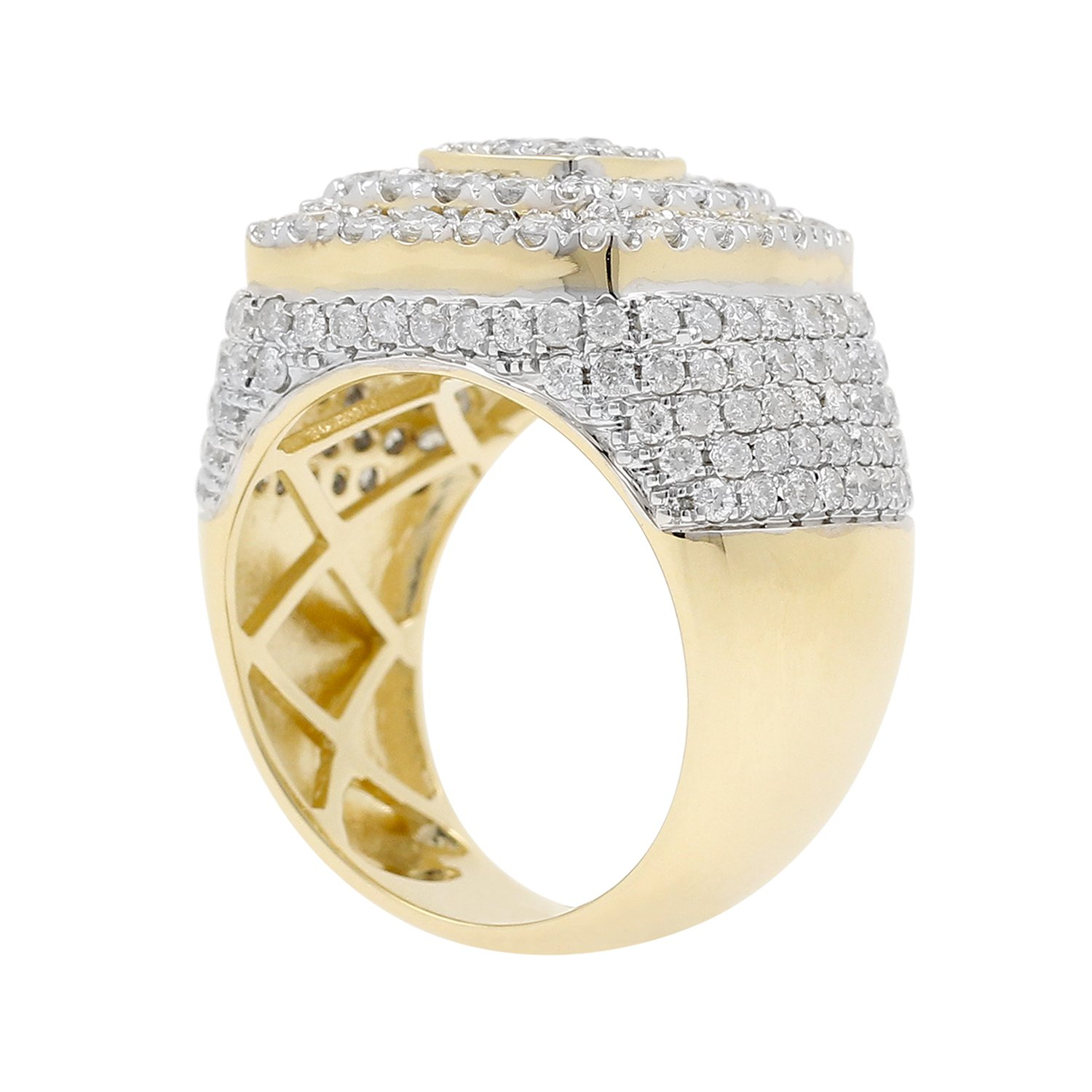 4.15 Carat 10kt Yellow Gold Diamond Cluster Men's Statement Pinky Ring by Isha Luxe-Mens Collection (Image #2)