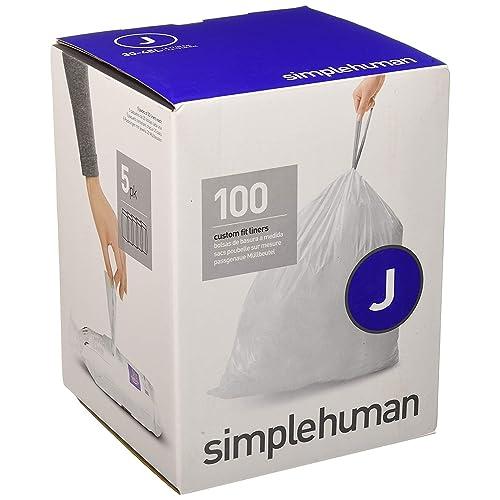 simplehuman - code j, sacs poubelle sur mesure, 100 sacs poubelle, 30-45 litre