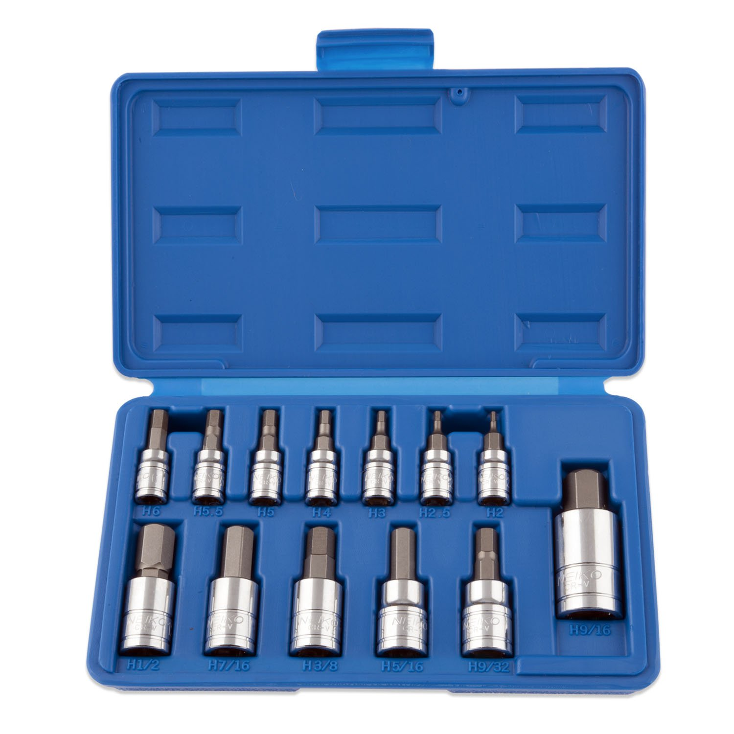 Neiko 10075A SAE Hex Bit Socket Set | 13-Piece Set | S2 Steel