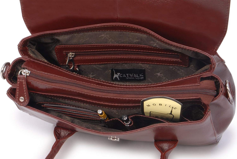 Bolso de Mano//Oganizador con correa para el hombro CATWALK COLLECTION Cuero Vintage iPad//Tablet ELLA