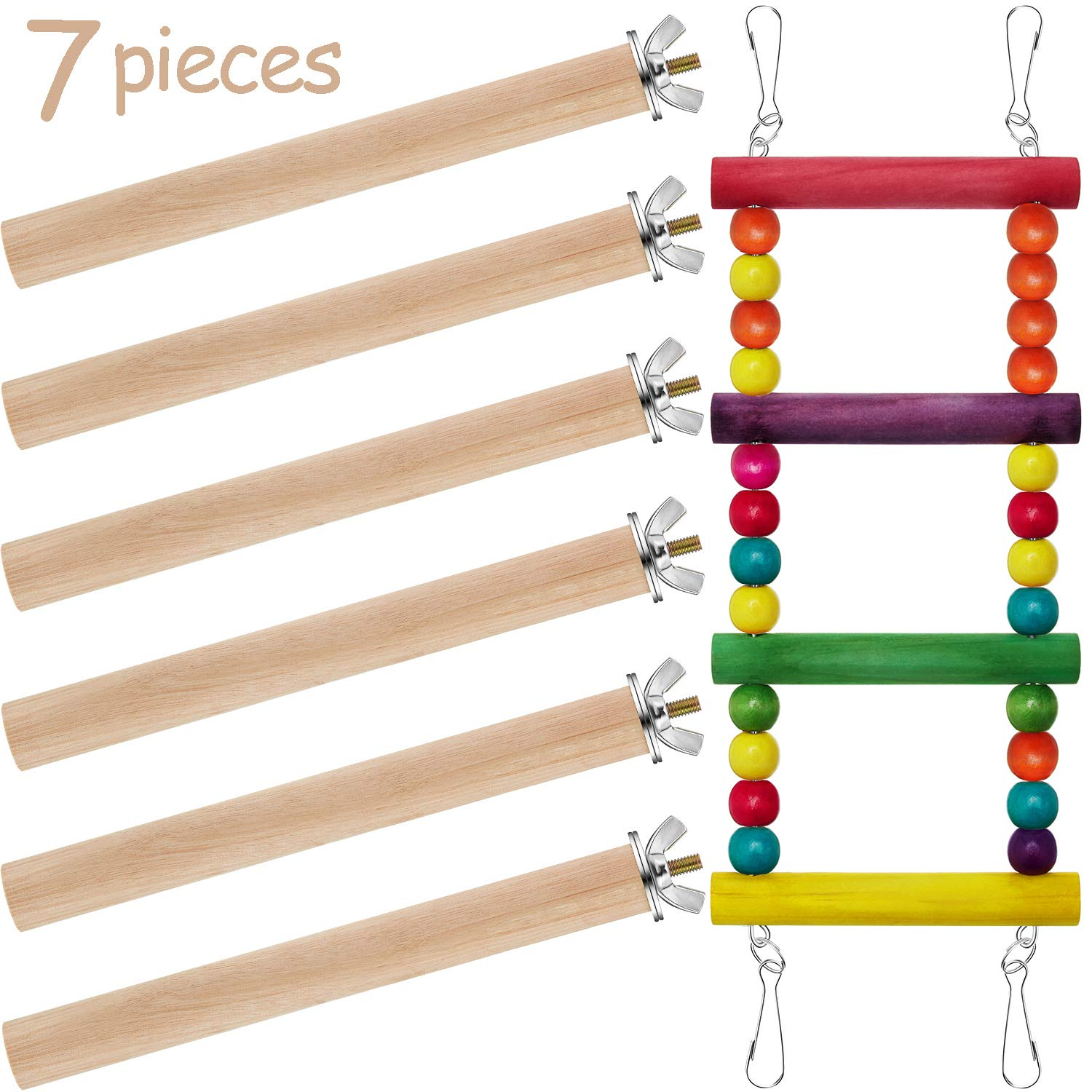 Gejoy Birds Trainning Ladder and 6 Pieces Wood Birds Cage Stand Perch for Pet Training Birds Cage Accessories by Gejoy
