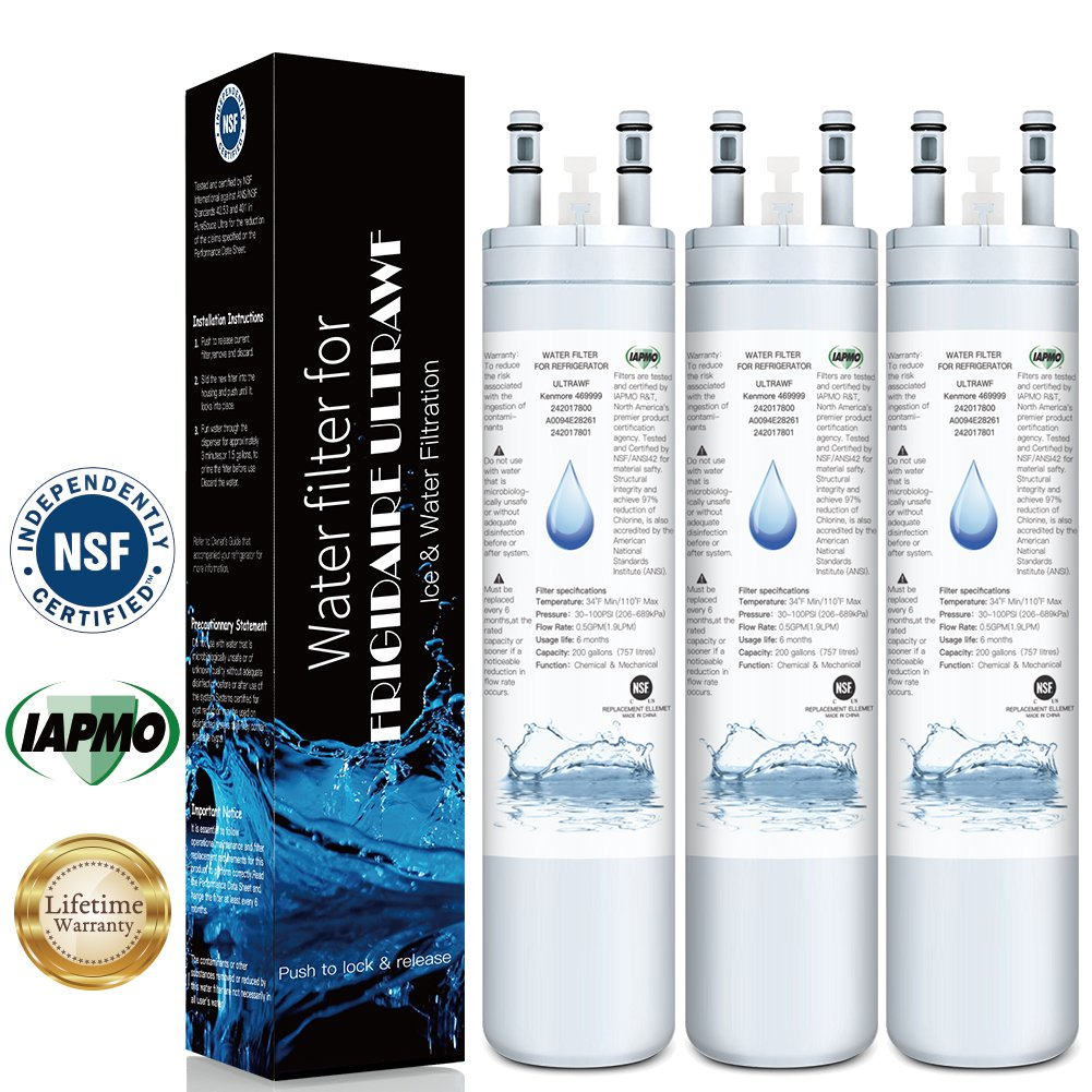 Pack of 3 Compatible for ULTRAWF Frigidaire water filter,KENNMORE-469999,242017800,242017801,PS2364646, A0094E28261