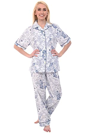 Del Rossa Womens Cotton Pajamas, Woven Pj Set with Pants at Amazon ...