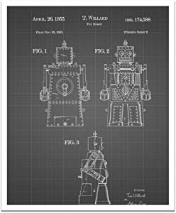 "JP London POSJSG08 Jetsons Rosie Robot Peel and Stick Vintage Black Grid Poster Patent Art, Black/White Gridlines, 24"" x 19.75"""