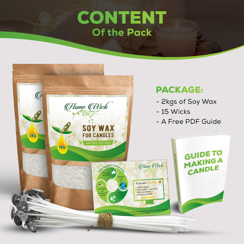 Eco Cera De Soja para Kit De Fabricación De velas Natural Blanco 2 kilos Cereales Sin OGMs Guía Completa De Fabricación 15 Mechas Disponibles