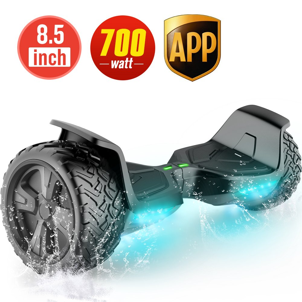 TOMOLOO Hoverboard UL2272 Certified 8.5'' Wheel Black Off Road Self-Balancing Scooter for All Terrain with RGB Lights Bluetooth Speaker Customizable App by TOMOLOO