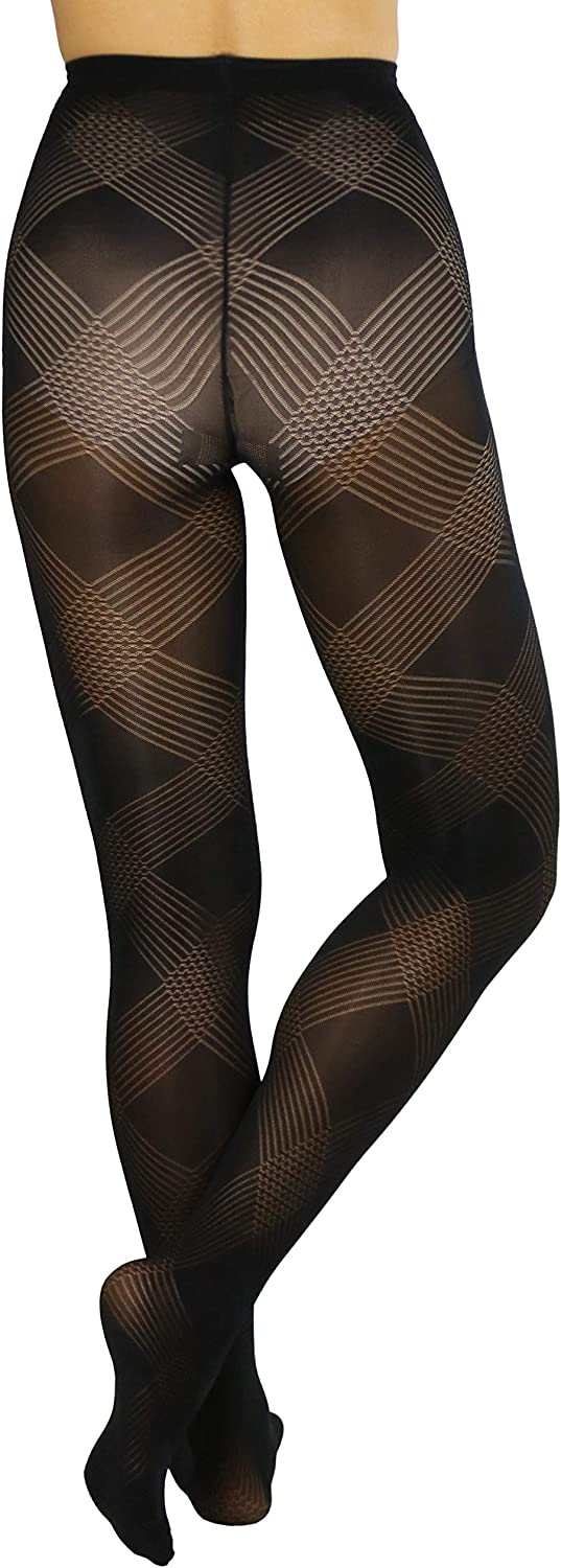 Opaque Black Pantyhose 50 Denier Diamond Textured Opaque Black Tights Gabriell