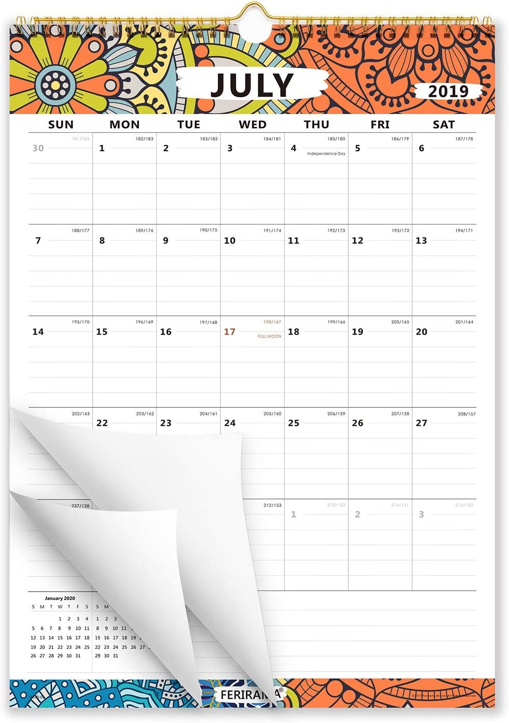 Cabbrix 2019-2020 Academic Year Monthly Wall Calendar, Wirebound, Ruled Blocks, Colorful, 17 x 12 Inches