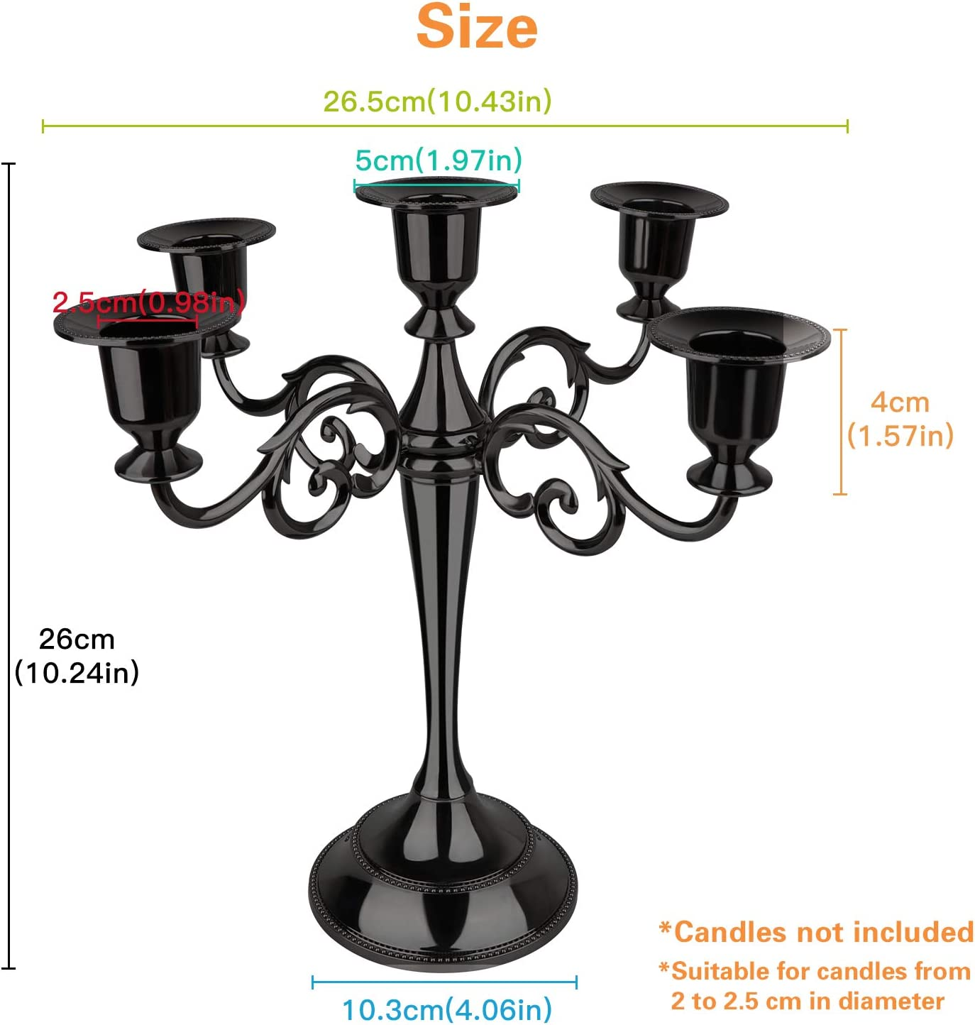 Classic Elegant Black Mirrored Finish Design Candlestick Stand AOSTON 5-Candle Metal Candelabra,10.24 Inch Tall Candle Holder Black Wedding Event and Party Candle Stick